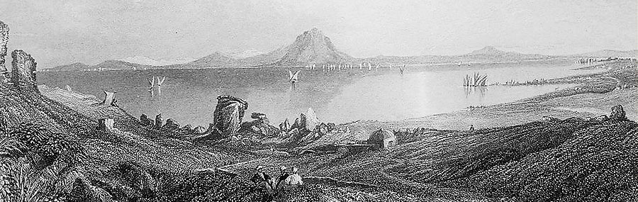 An engraving of a view of the ruins of Carthage