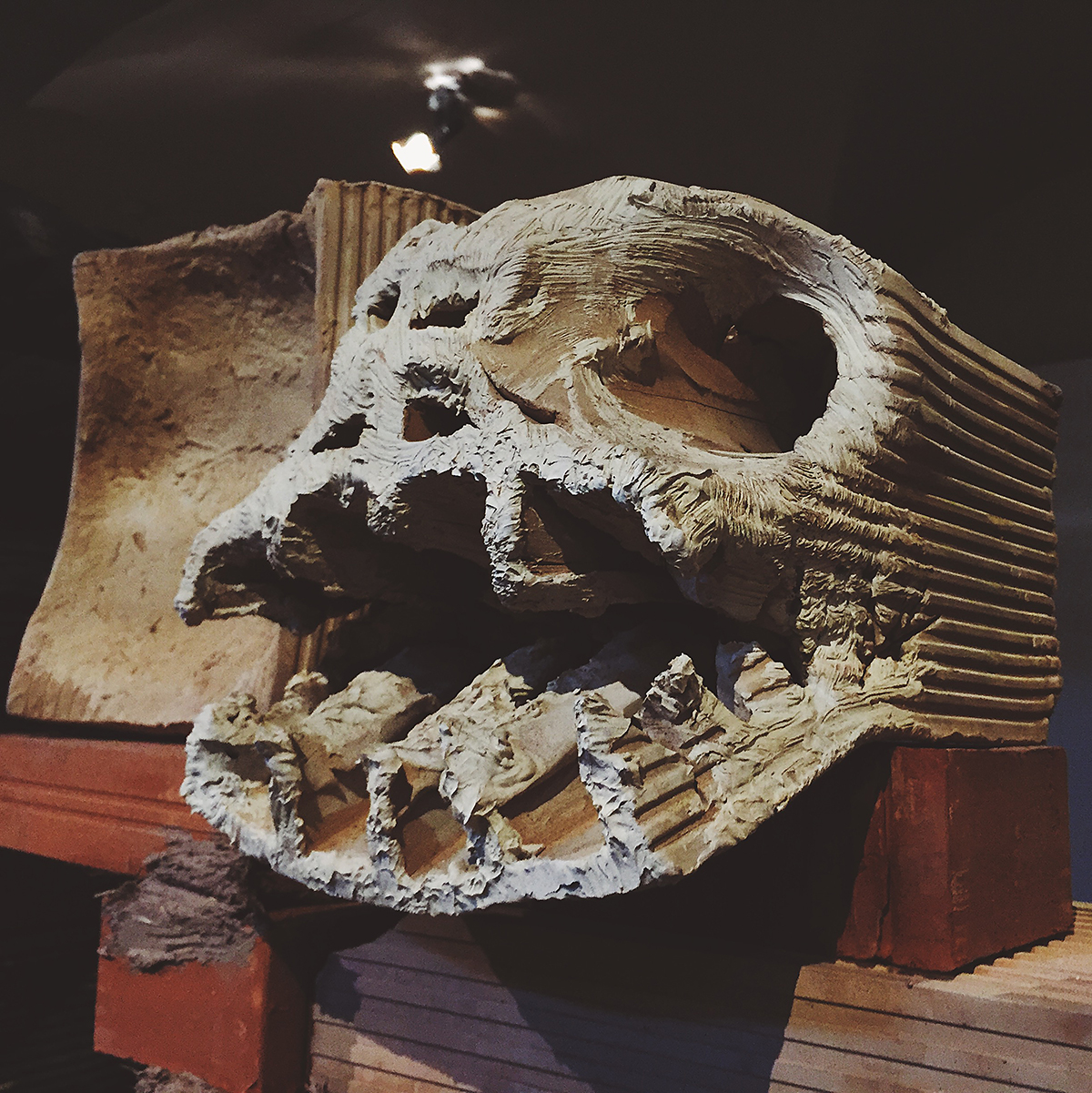 A plaster skull type block by Miquel Barceló
