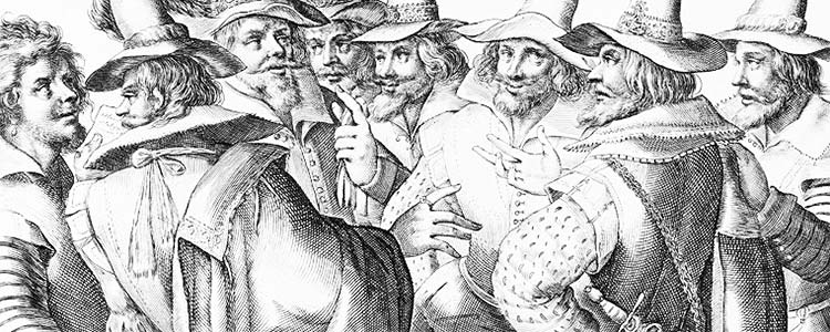 An engraving of the Gunpowder Plot Conspirators