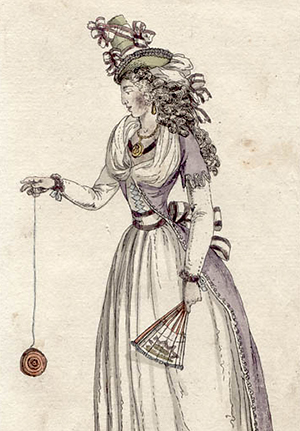 A woman of the 18th century, playing with a yoyo