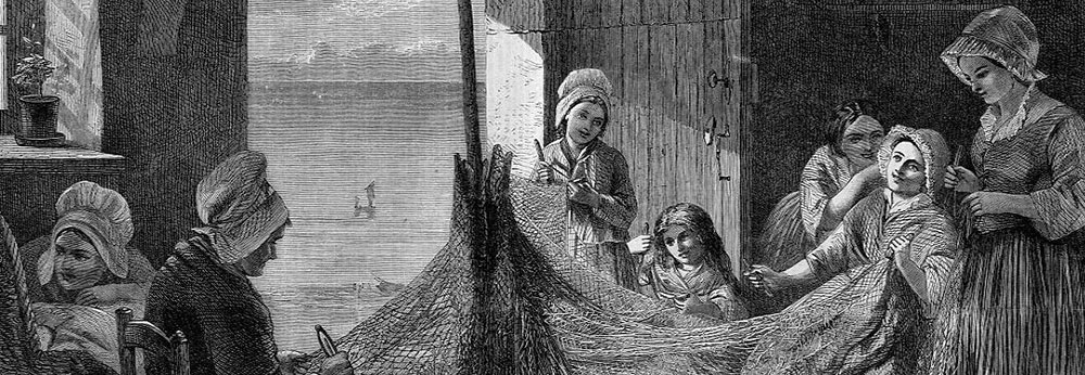 Women mending fishing nets