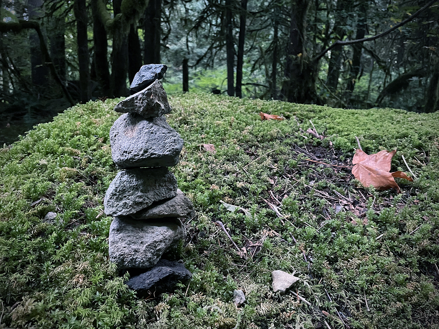 A photograph of a small stack of stones, precariously balanced, for purely decorative purposes.