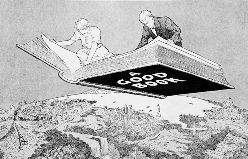 Journey with a good book, cartoon by Winsor McCay