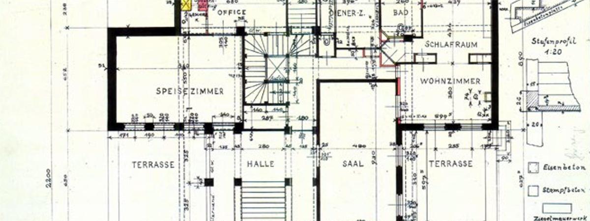 partial floor plan of Wittgenstein house, Vienna
